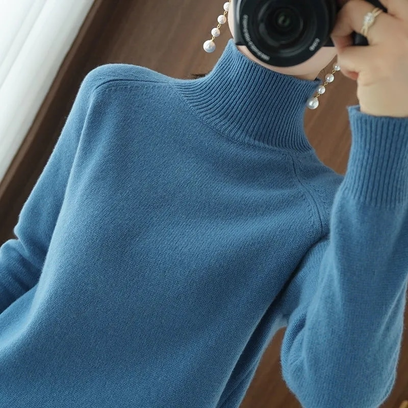 Elegant Long Sleeve Turtleneck Sweater Women Casual Loose Cotton Warm Knitted Female Solid All-Match Autumn Pullover Korean Top