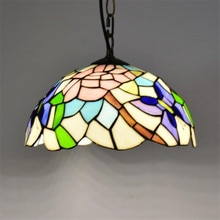Colorful Glass Tiffany Suspension for Foyer Bar Dining Room Restaurant Vintage Handmade Glass Drop Lamp Dia 30cm 1189
