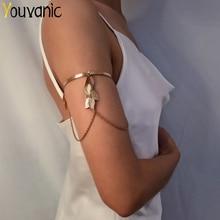 Youvanique Vintage feuille gland bras supérieur Bracelet pour femmes chaîne Bracelet bracelets breloques manchette Bracelet Boho plage accessoires 0124