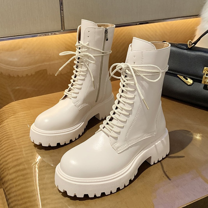2020 Winter Fashion Women Beige Lace Up Martin Boots Black Wedges High Heels Platform Punk Motorcycle Boots Ankle Boots Shoes botines de mujer punk style martin boots fashion high wedges platform lace up ankle boots black motorcycle boots wedge shoes