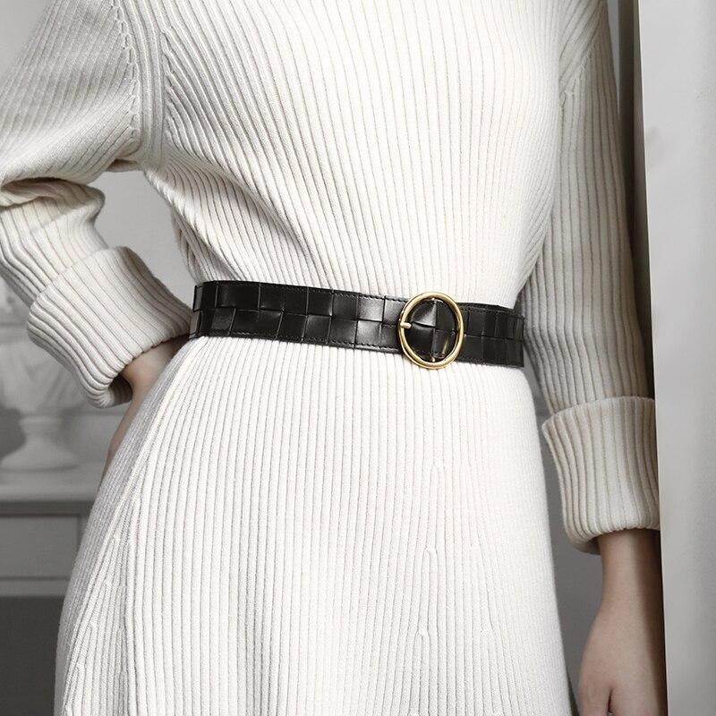 2020 las nuevas mujeres cinturón de moda de marca de lujo de cuero elegante tejido decoración con una falda suéter abrigo chaqueta faja de punto caliente