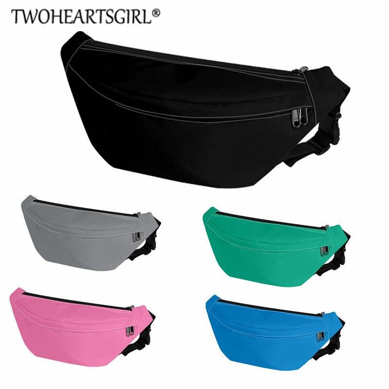 Twoheartsgirl, riñonera de viaje para hombre, bolsas de cadera personalizadas, riñoneras para mujer, riñonera negra informal para cintura Mini