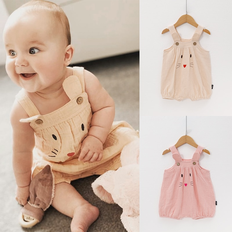 2021 European and American style kitten baby cotton sling one-piece baby cotton gauze wrinkled cloth