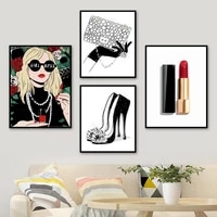 fashion girl high heels lipstick package wall art canvas painting nordic posters and prints wall pictures for living room decor