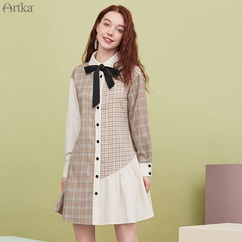 ARTKA 2020 otoño temprano nuevo vestido de mujer estilo universitario Turn-down Collar con lazo vestido suelto manga larga vestido estilo camisa a cuadros LA25003Q