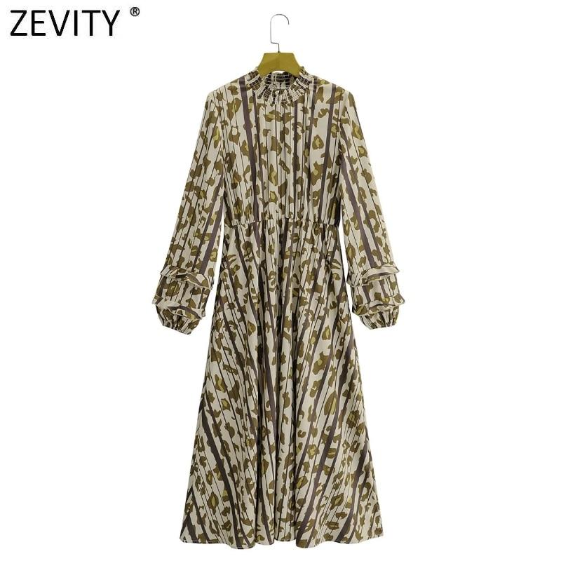 Zevity New Women Elegant Leopard Print Striped Chiffon Kimono Midi Dress Office Lady Lantern Sleeve Ruffles Slim Vestido DS4740