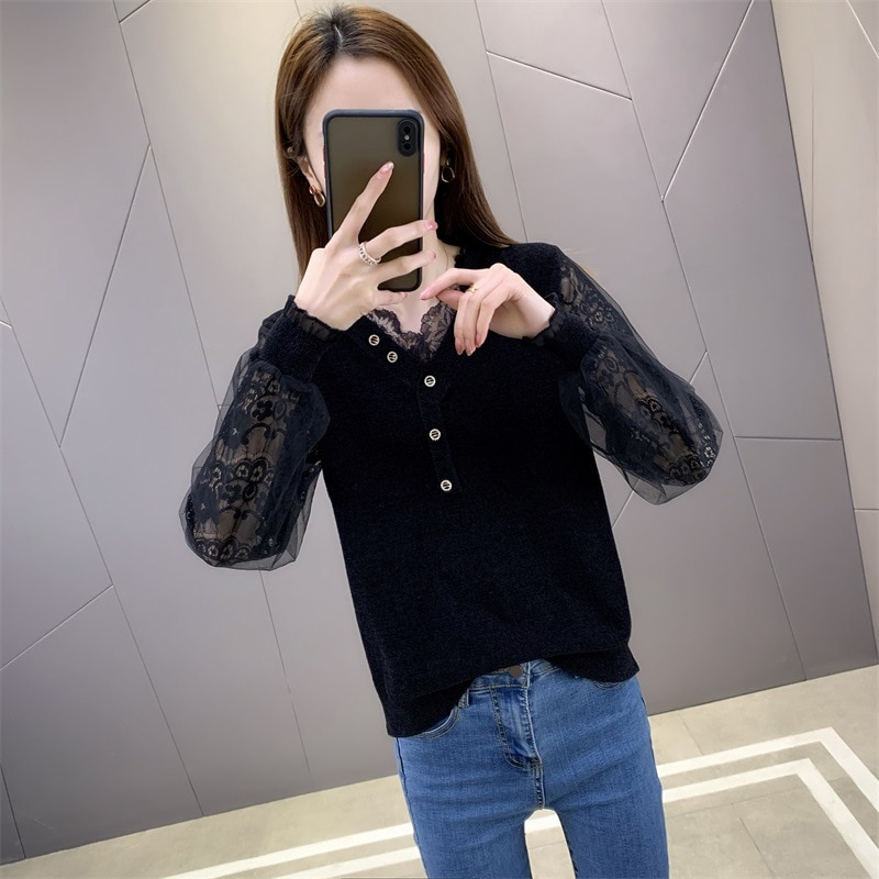 2021 spring new lace  women's Korean version of loose mesh lace sexy knit sweater women's V-neck long-sleeved sweater outer top enlarge