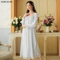 cotton nightdress female summer palace princess retro square collar lace sweet long nightgown plus size sleep dress night wear
