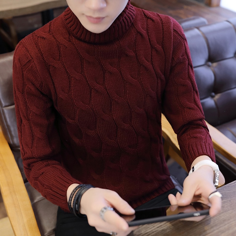 High Quality Casual Men's Sweater Korean Turtleneck Solid Slim Fit Knitwear 2021 Spring Mens Sweaters Pullovers Men Pull Homme