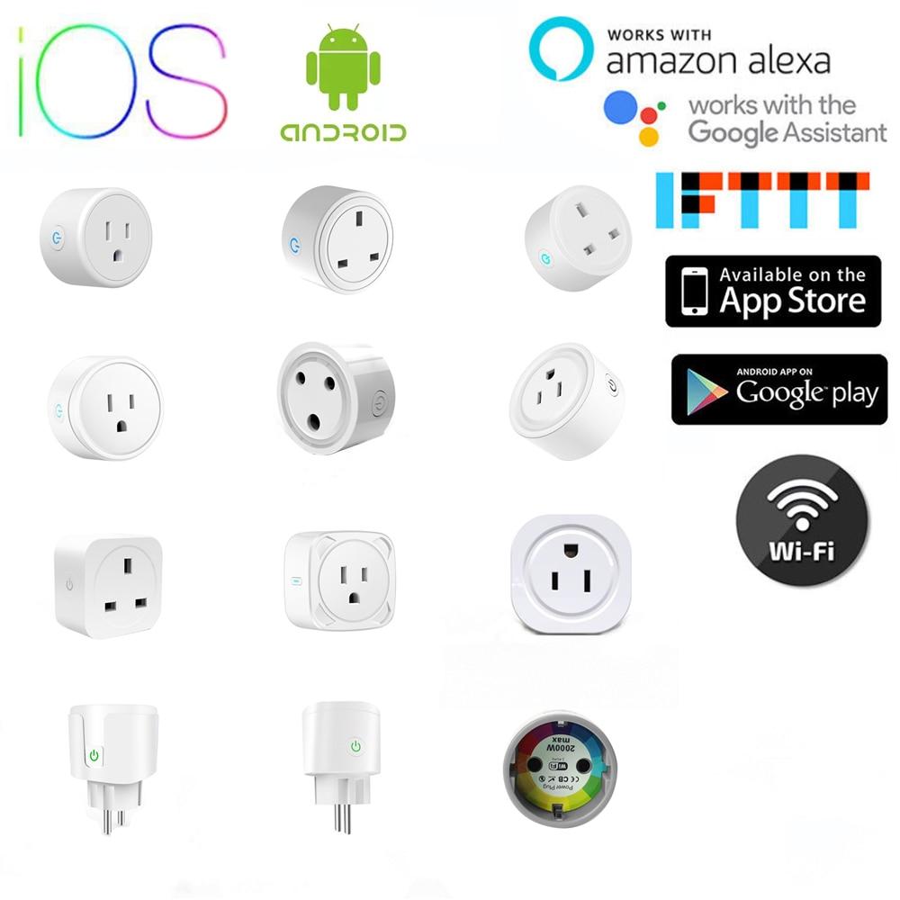 Inalámbrico inteligente Wifi enchufe Tuya Smart Life APP US UK EU ZA enchufe Control remoto de voz temporizador funciona con Alexa google IFTTT
