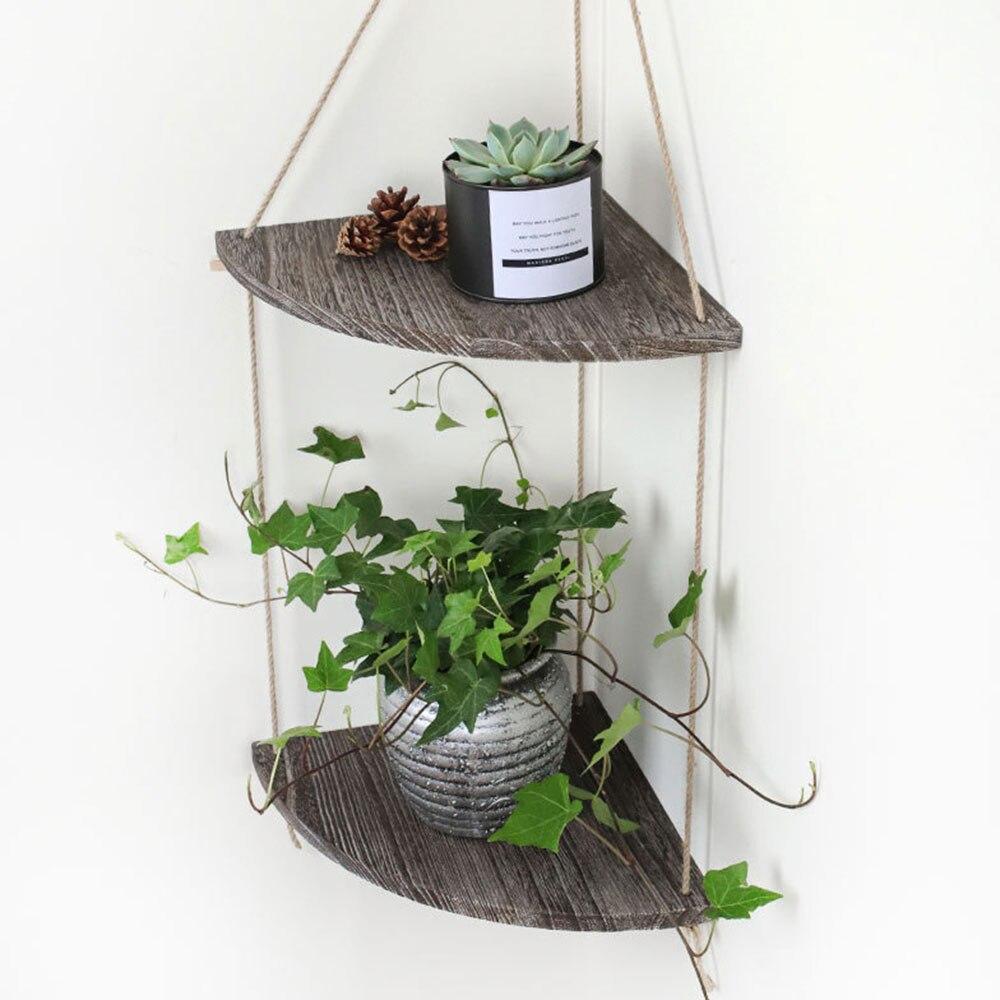 Soporte de pared estante de almacenamiento flotante bohemios borla planta de decoración maceta percha con cuerda de ganchillo oscilante estante de la decoración interior