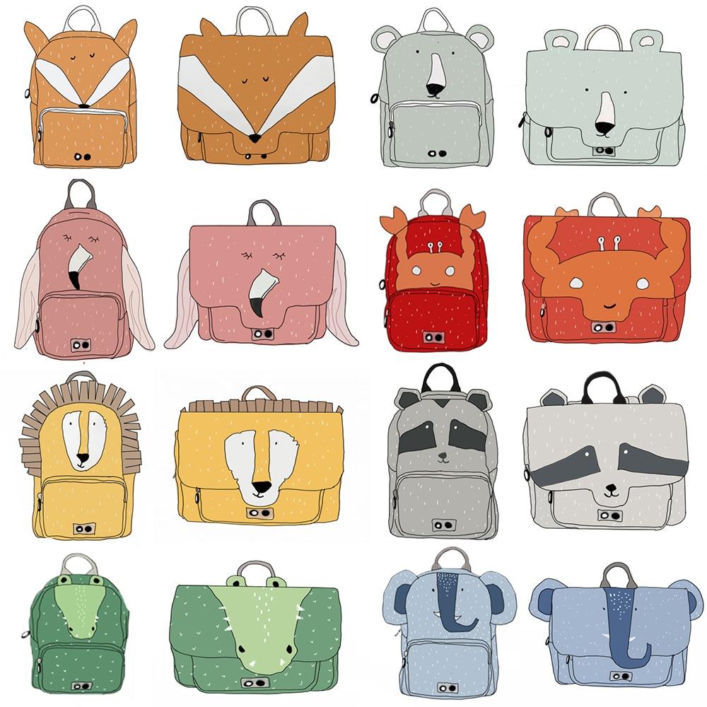 Cartoon Animal Shoulder Bag Children School Bags Kindergarten Kids Girl Canvas Students Lion Fox Backpacks Flamingo Bag Elephant