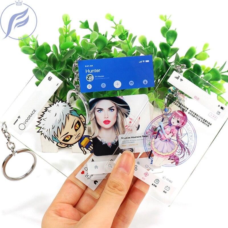 FANGQINGMAO llavero acrílico de moda de dibujo animado personalizado, Impresión de plástico transparente, tarjeta INS con su propio diseño