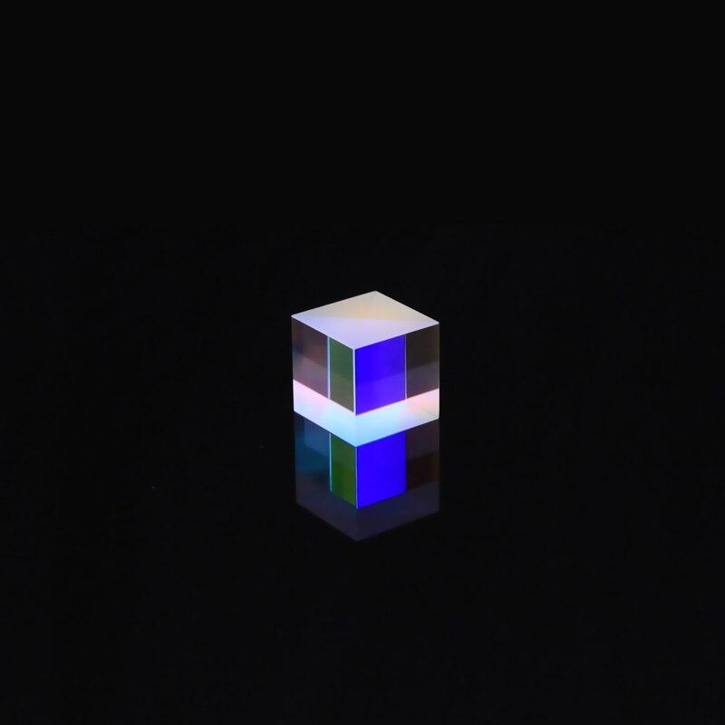 Vidrio dicroico de 25mm, Color óptico x-cube de cuatro lados pulido, Prisma K9 para enseñanza, experimento, cubo láser de vidrio de arcoíris al por mayor