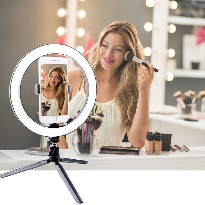 new 10inch portable selfie ringlight adjustable tripod remote photography lighting phone photo led ring fill light lamp youtube 26CM Photography Lighting Phone Ringlight Tripod Stand Photo Led Selfie Bluetooth remote Ring Light  Lamp TikTok Youtube Live