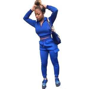 Women Sports 2-piece Outfit Set Long Sleeve Zipper Hoodie+Pants Set for Ladies Female