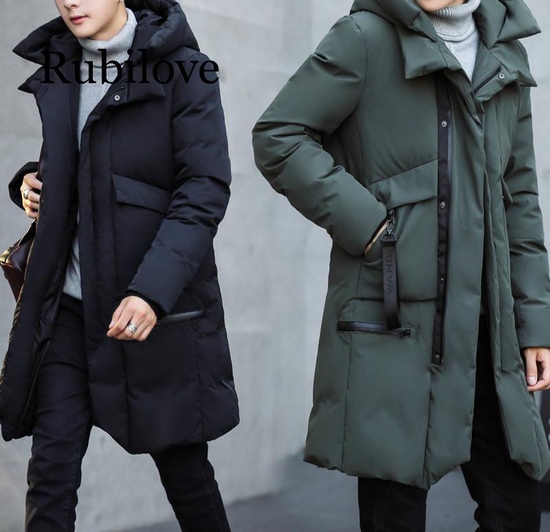 new mens long parka hooded thick warm cotton padded coat solid winter clothing size m 6xl t130 Parka Men 2020 New Winter Hooded Jacket Long Jacket Coat Solid Color Parkas Cotton-Padded Youth Thick and Warm Long Coat