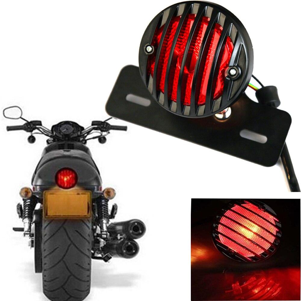 Parrilla de aluminio, luz trasera de freno de motocicleta, lámpara trasera, montura de placa de matrícula, apto para Harley Cruiser Cafe Racer Bobber Chopper
