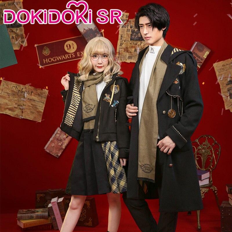 Dokidoki-sr cospaly moive magic academy potter doujin traje cosplay hufflepuff escola uniforme casual wear