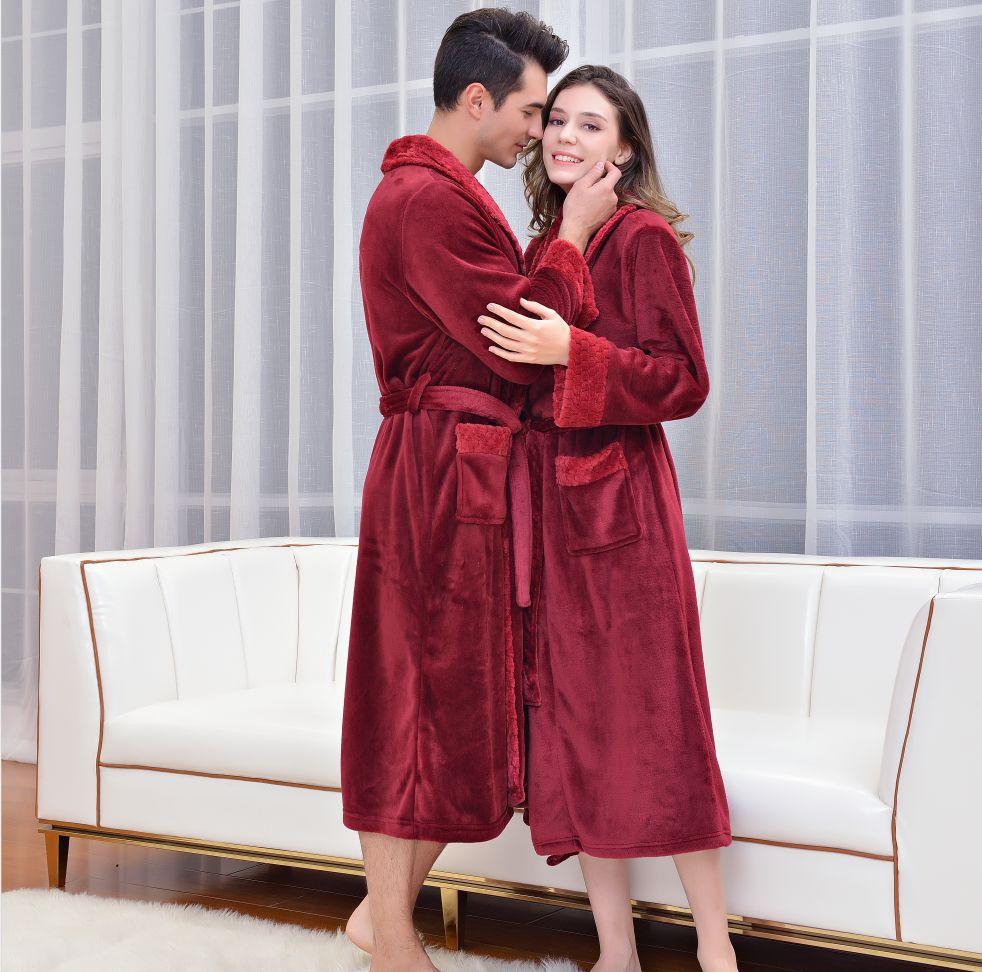 Bata Kimono de lana Coral para hombre y mujer, ropa de dormir...