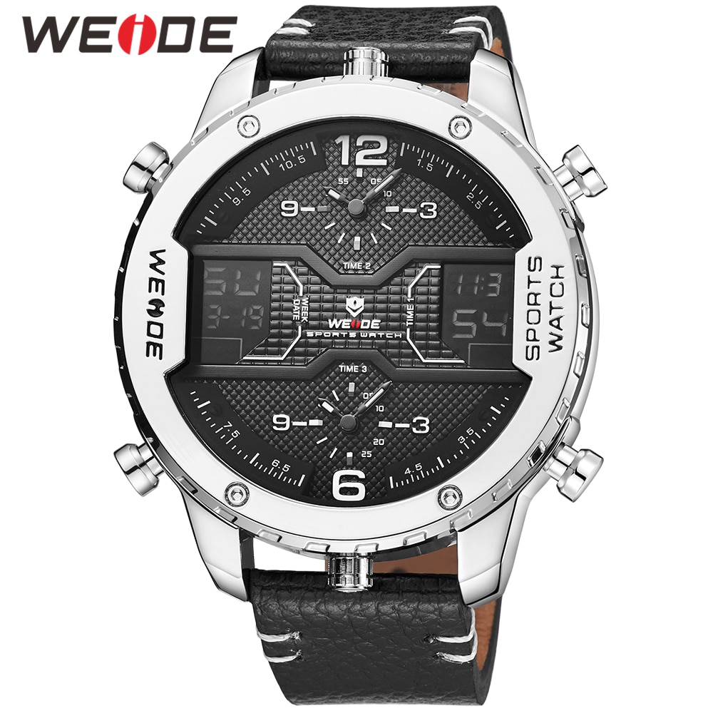 WEIDE Mens Fashion Sports Casual Three Time Zone Quartz Analog Digital Date Clock Leather Strap Military Watch Relogio Masculino super large dial watch men luxury brand two time zone military sports watch quartz clock time steel belt lelogio masculino