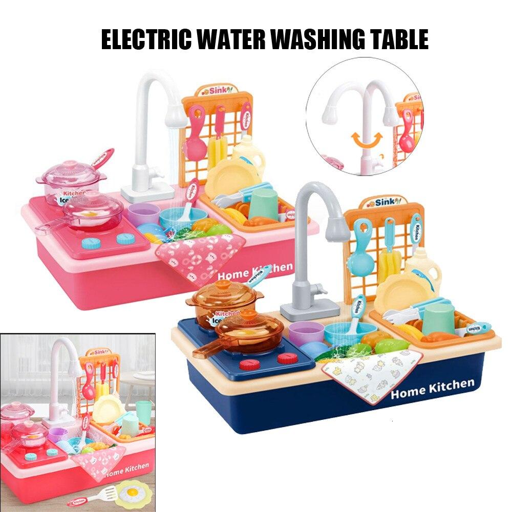 Fregadero eléctrico de plástico de imitación para niños, juegos de cocina para niños, regalos de cumpleaños, acceso a muñecas