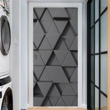 2 teile/satz Schwarz Geometrie Tür Aufkleber Selbst Klebe Wasserdicht Abnehmbare Tapete Vinyl Wand Aufkleber Poster Wohnkultur deurposter