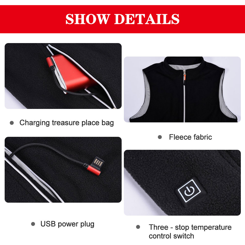 Heating Vest Sleevless Jacket  Men Washable USB Charging 3-speed Temperature 55 °C Warm Vest Outdoor Camping Hiking Golf Fishing enlarge