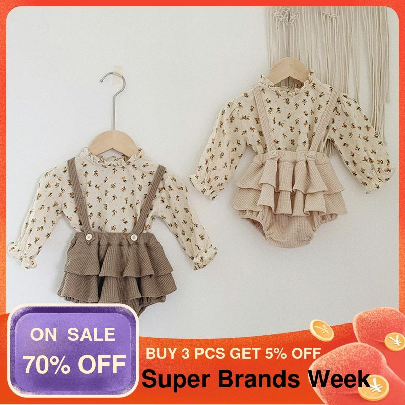 2Pcs Vintage Baby Girl Clothes Set Summer Cotton Girls Floral Blouse Shirt Romper Dress Spring Newborn Baby Girl Clothes Outfits