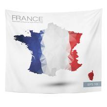 Drapeau géométrique abstrait bleu   Revêtement de drapeau sur la carte de France, conception polygonale, tapisserie européenne blanche, décoration de maison, tenture murale