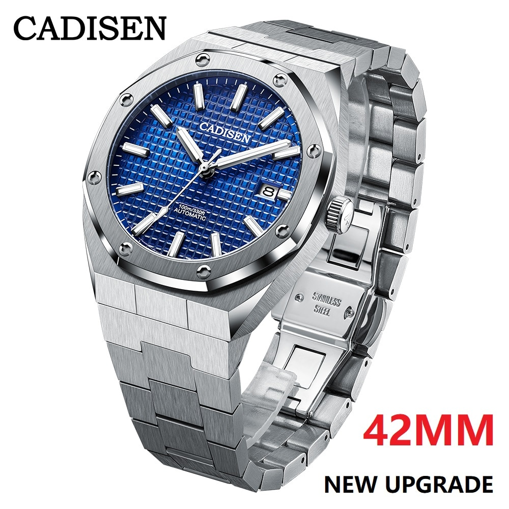 CADISEN-ساعة يد ميكانيكية للرجال ، ساعة يد رجالية ، أوتوماتيكية ، زرقاء ، 42 مللي متر ، 100 متر ، مقاومة للماء ، فاخرة ، غير رسمية ، للعمل