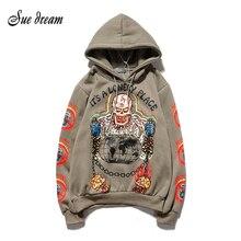Kanye Hip Hop Graffiti Plus Fluwelen Hooded Sweater Streetwear Hoodie Mannen En Vrouwen Harajuku Stranger Dingen Mens Hoodies