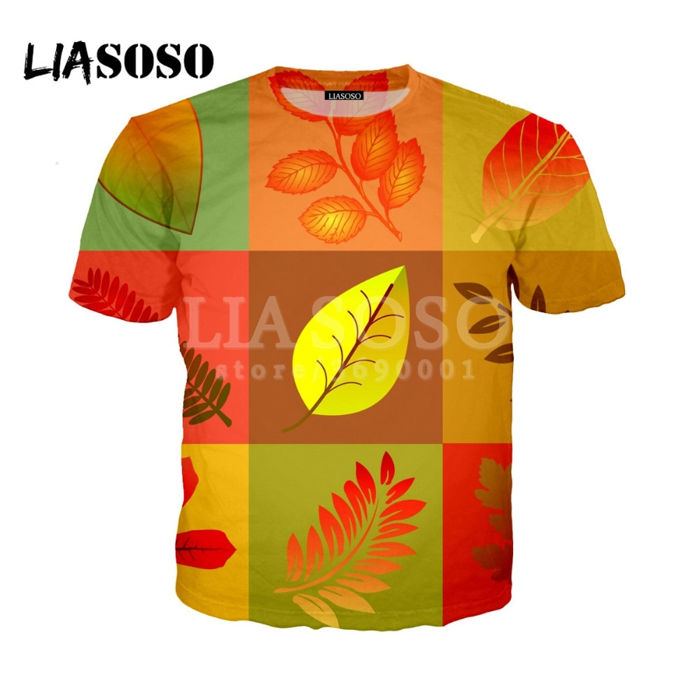 LIASOSO 3D Print Women Men Creative Colorful Design Maple Leaf Green Hemp Leaves T shirt Summer Tshi