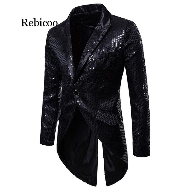 Nueva moda boda novio oro plata Rojo Negro lentejuelas Delgado hombres capa de cola etapa baile de graduación vestido trajes chaquetas traje 2020