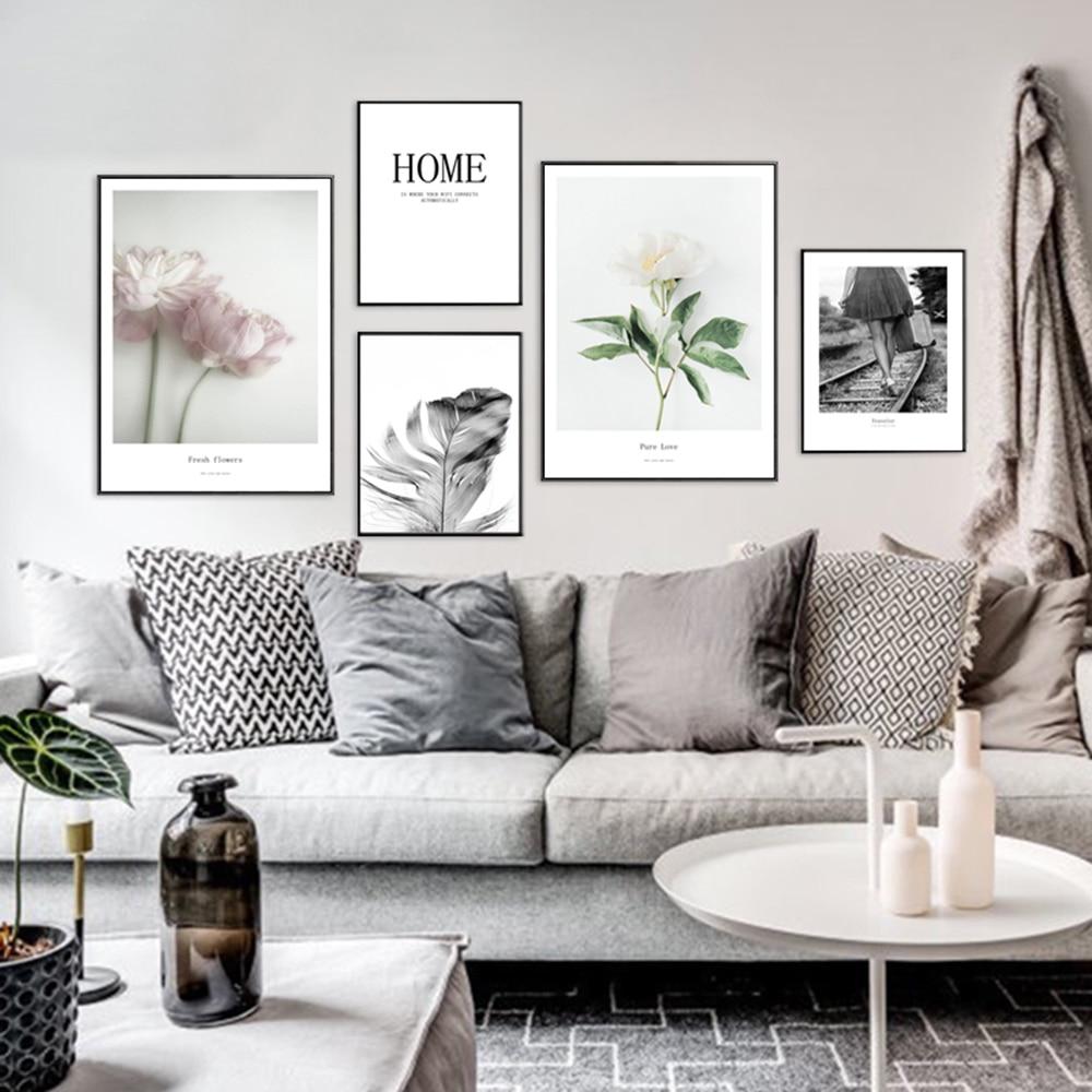 Moderno fondo blanco y negro sendero paisaje cartel Vintage arte impresión lienzo pintura cuadro para la decoración de la sala de estar