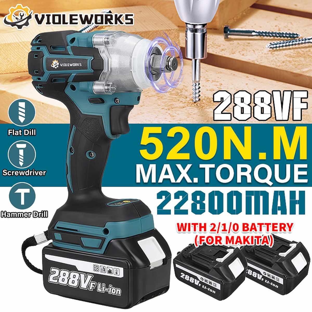 جديد 22800mAh 288VF فرش مفتاح برغي كهربائي 1/2 بطارية ليثيوم أيون 6200rpm 520 N.M عزم دوران 110-240 فولت