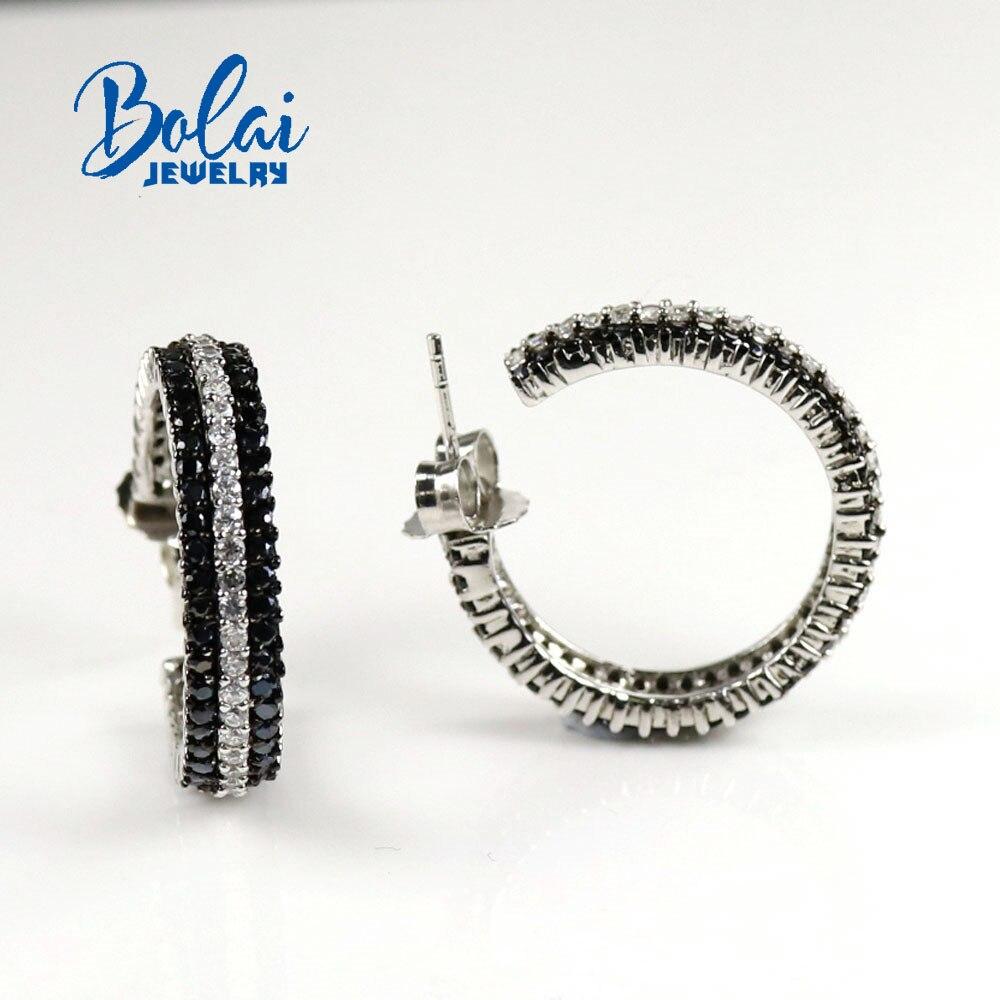 مجوهرات Bolai ، أقراط من الفضة الإسترليني عيار 925 باللون الأسود الطبيعي ، بتصميم شبه دائري ، مناسبة للارتداء في أي مناسبة