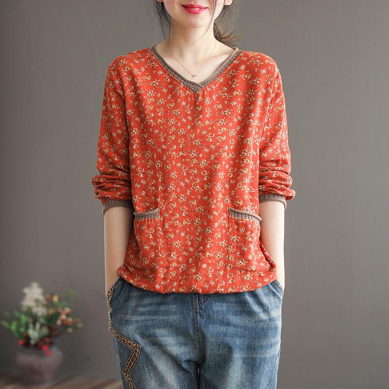 aliexpress.com - Vintage T Shirt Women Long sleeve Shirt Cotton Linen Stitch V neck Loose Tee Shirt Autumn Clothes Basic Tshirt Ladies Top Casual