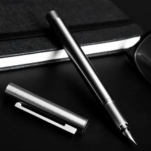 Pluma estilográfica de acero completo, Punta fina de 0,5mm con caja, caligrafía, pintura, tinta, bolígrafos para Grabado libre de negocios, las palabras