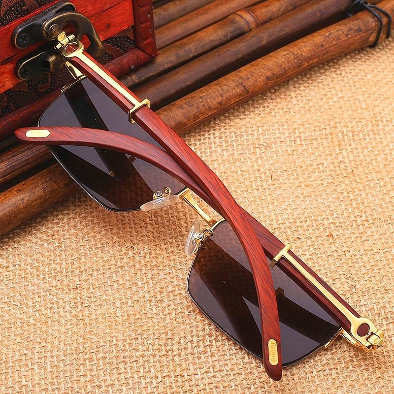 Vazrobe Glass Sunglasses Men Women Real Wood Frame+crystal Stone Lens Brown Glasses Anti Eye Dry Protect from Glare UV400