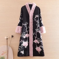 autumn and winter women parka outerwear retro embroidery floral elegant loose lady warm luxurious trench coat female m xxl