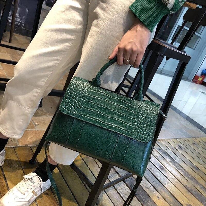 التمساح نمط الطبيعية حقيبة يد جلدية حريمي جلد كبير الإناث حمل حقيبة فاخرة الراقية حقيبة كتف سيدة الأعمال