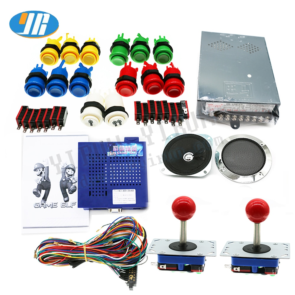 DIY Jamma juego de Arcade piezas Juego Elf 750 en 1 PCB caja de juegos Junta + fuente de alimentación + joystick ZIPPY + botones + Alambre de jamma