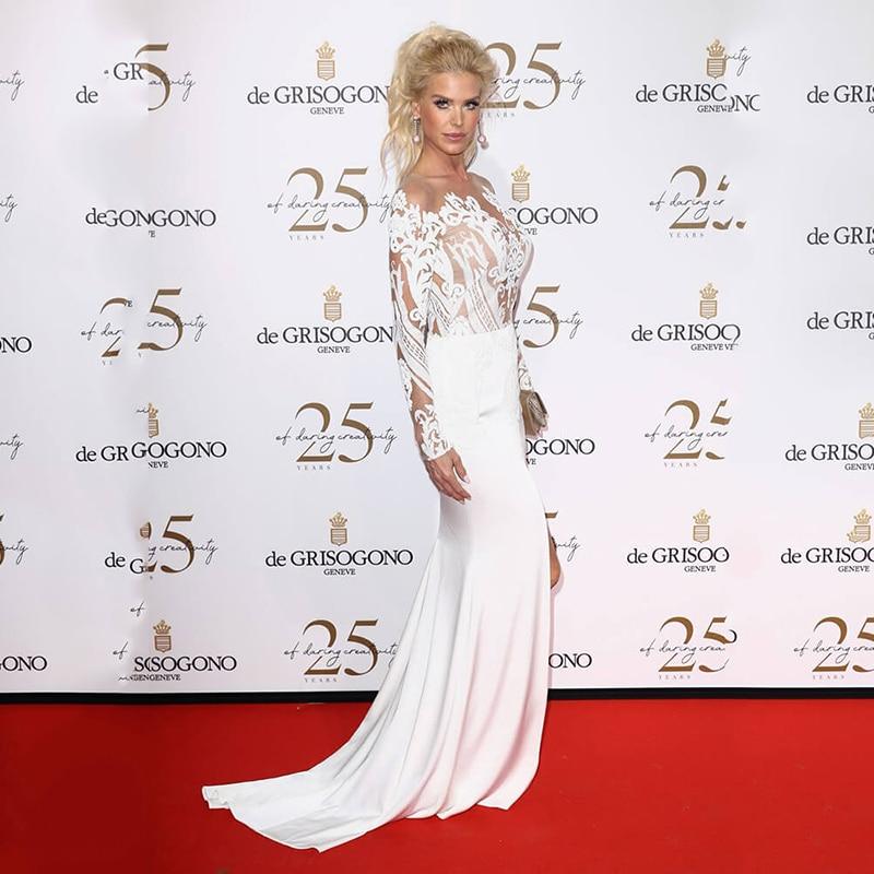 Купить с кэшбэком SoDigne White Mermaid Prom Dress Sexy Side Split Lace Applique Long Sleeves Formal Evening Dress Celebrity Dress