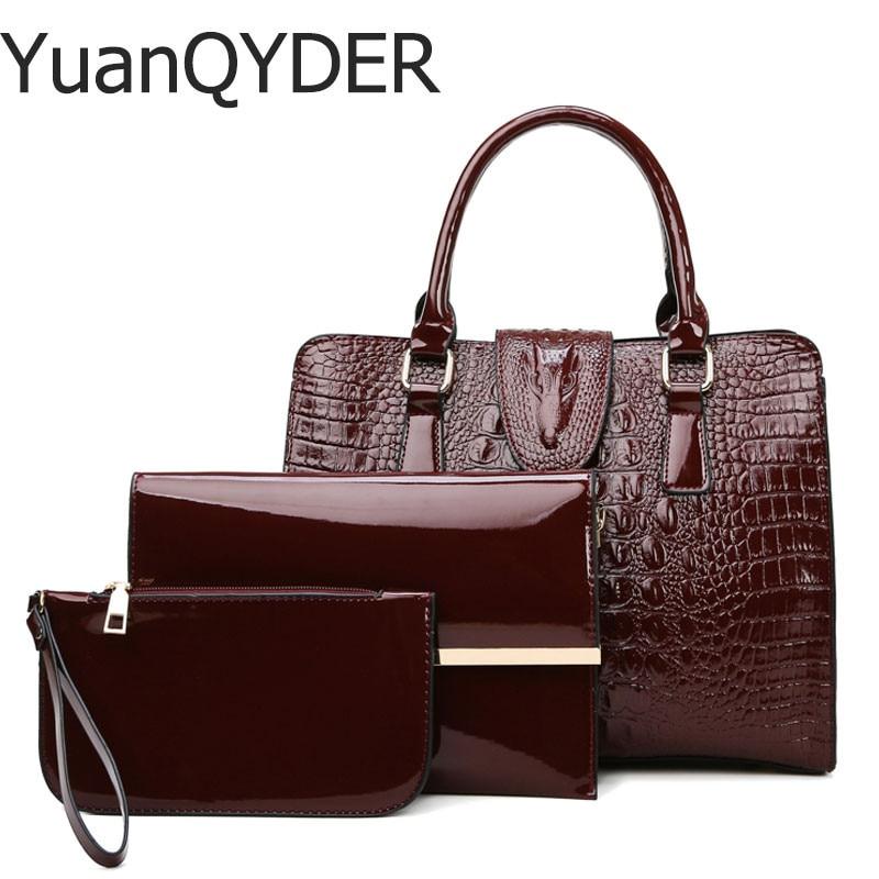 3 Sets Fashion Patent Leather Women Tote Bag Luxury Handbags Crocodile Pattern Women Bags Designer Brand Shoulder Messenger Bag