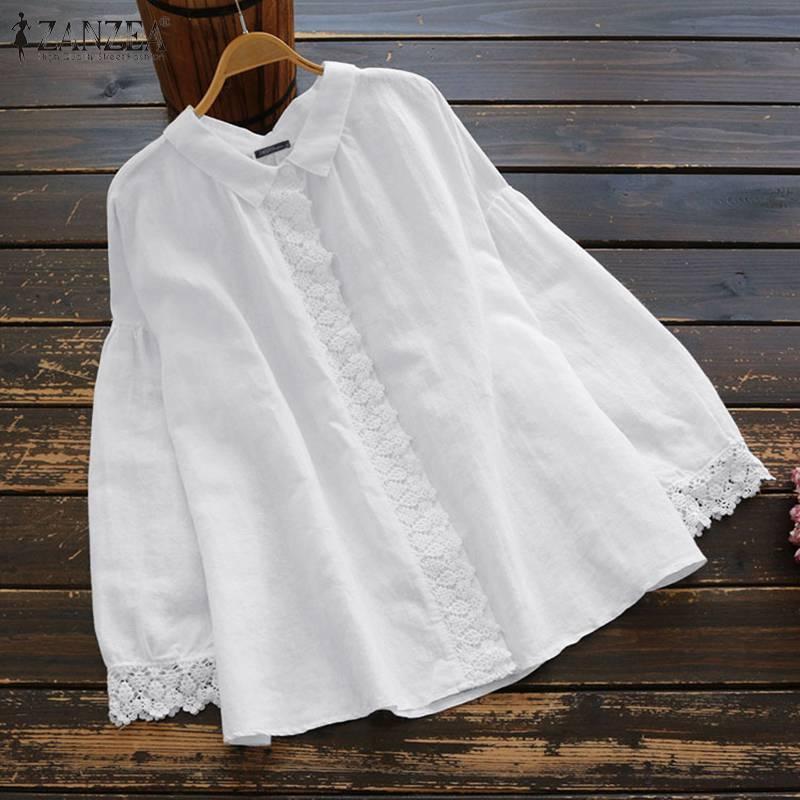 ZANZEA primavera Camisas manga larga, mujeres de algodón de solapa blusa elegante encaje Crochet OL trabajo túnica tops blusas camisola de mujer