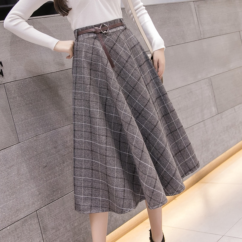 Vintage Plaid Belted Tweed Skirt Women Midi High Waist A-Line Office lady Outfits