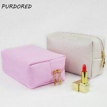 Purdored 1 pc saco de maquiagem sólida viagem saco de cosméticos saco de higiene pessoal caso de beleza neceser kosmetyczka dropshipping
