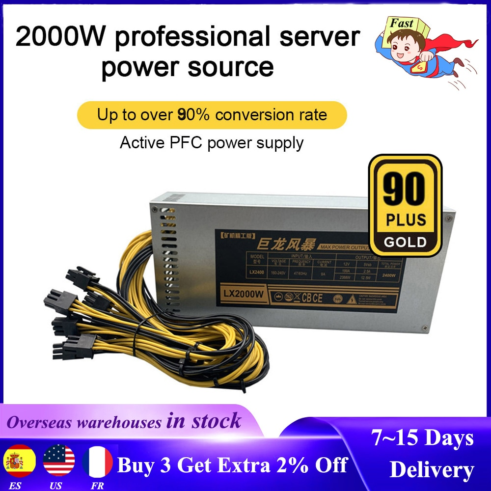 ETH التعدين إمدادات بطاقة الآلة 2000 واط 1800 واط 1600 واط 180 فولت-240 فولت 10x6pin 80%-90% كفاءة ل تعدين البيتكوين Ethereum Serversupply