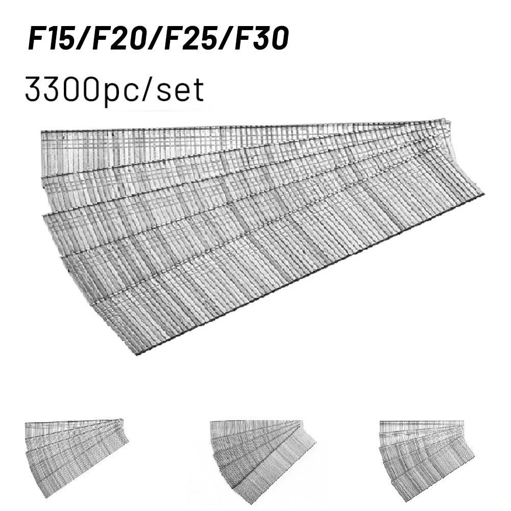 3300pcs F15/F20/F25/F30 Straight Brad Gun Nails For Electric Nail Gun Stapler Nailer Furniture DIY Home/Garden Woodworking Tool